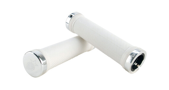 Spank Subrose Lock-On Grip CNC Endcap white/chrome